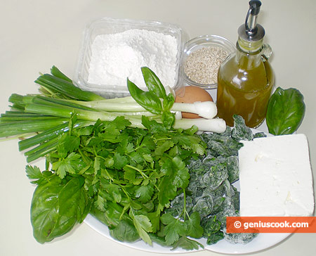 Ingredients for Cretan Pies Kalitsounia with Greens and Cheese