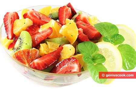 Fruit Salad Macedonia with Kiwi, Strawberries, Oranges