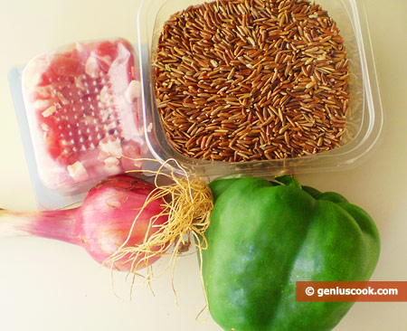 Ingredients for Rice with Pancetta and Vegetables
