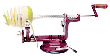 Device for cleaning and slicing potatoes, apples and pears