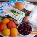 Ingredients for Cream Cakes with Apricots and Cranberry