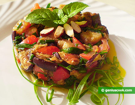 Eggplant Salad with Tomatoes and Green Onion