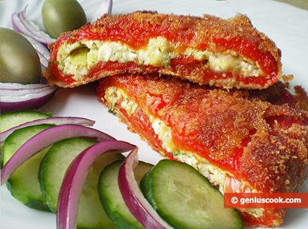 Bulgarian Pepper Stuffed with Feta Cheese
