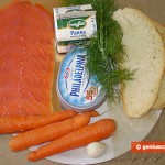 Ingredients for Carrot Cheesecakes with Salmon