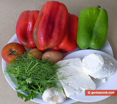 Ingredients for Bulgarian Pepper Stuffed with Feta Cheese