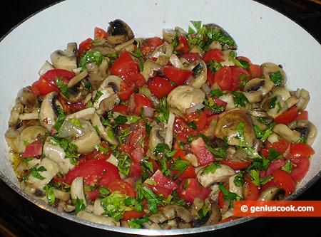 Add chopped onion, tomatoes, parsley