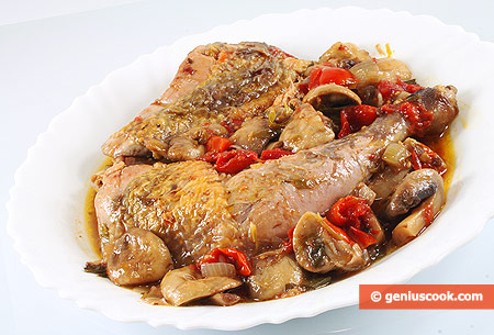 Guinea Fowl with Mushrooms, Pink Pepper and Tomatoes