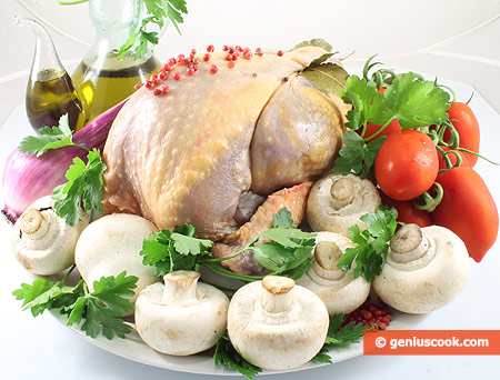 Ingredients for Guinea Fowl with Mushrooms