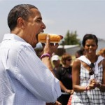 Barack Obama eats a hot dog