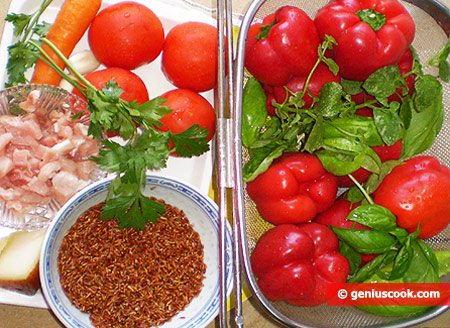 Ingredients for Stuffed Peppers with Brown Rice