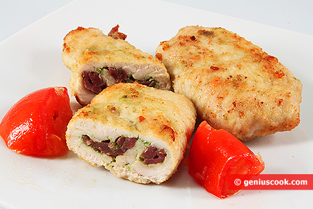 Chicken Cutlet with Ham and Pesto Sauce