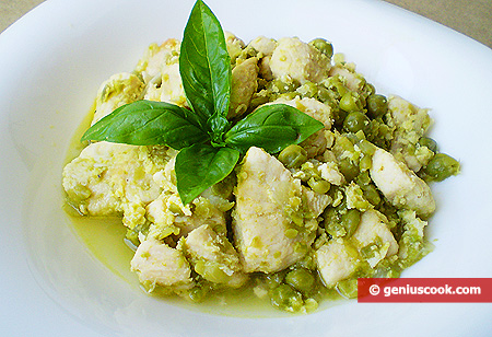Chicken Fricassee in a Wine Sauce with Ginger and Green Peas