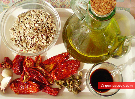 Ingredients for Pasta from Sun-Dried Tomatoes and Sunflower Seeds