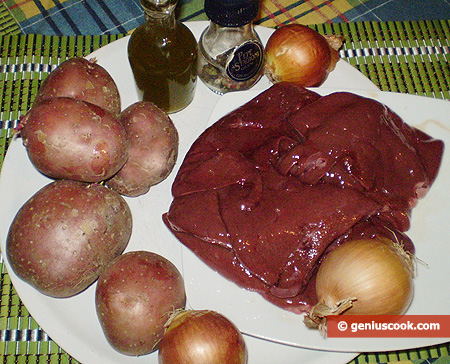 Ingredients for Liver with Fried Potatoes and Onion