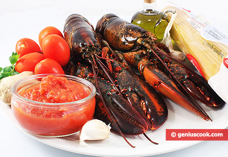 Ingredients for Spaghetti with Lobster