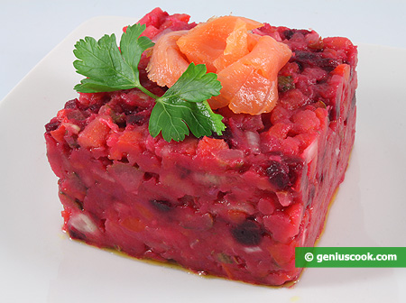 "Russian Red Beet Salad ""Vinegrette"" with Salmon"