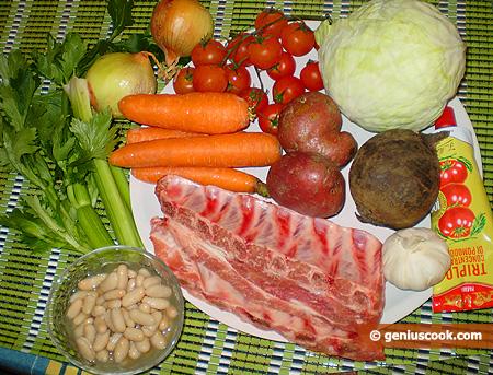 Ingredients for Beetroot Soup Borscht