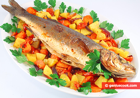 Baked Sea Bass with Herbs and Vegetables