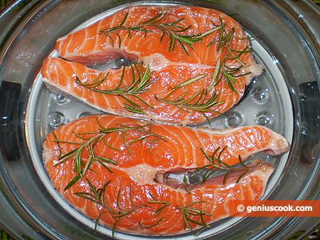 salmon steaks into the bowl