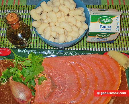 Ingredients for Gnocchi with Salmon