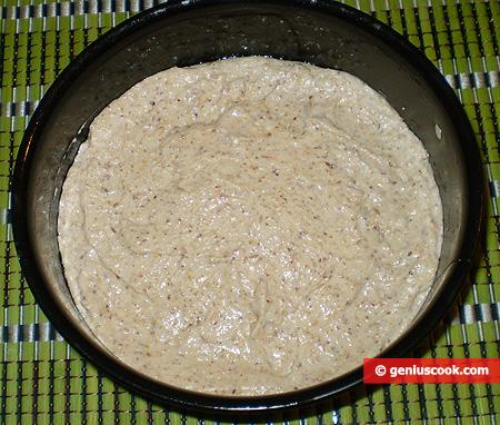 dough into a  baking form