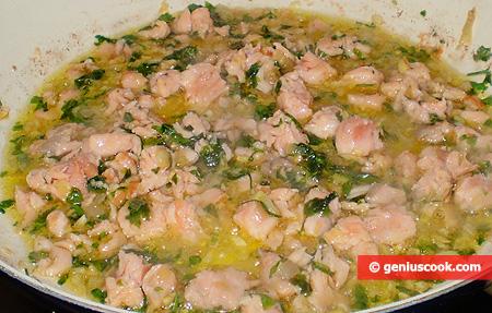 Salmon, shallots, ginger and parsley
