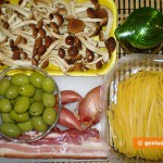 Ingredients for tagliatelle with pancetta, mushrooms and olives