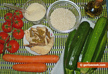 Ingredients for Zucchini Stuffed with Rice