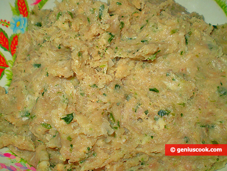 minced meat with greens and cheese