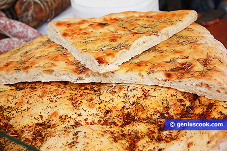 Focaccia with herbs and pepper