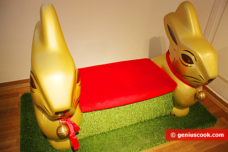 Sofa with chocolate Christmas bunnies