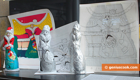 Sketches of Christmas wrappers and figures Snow Maiden