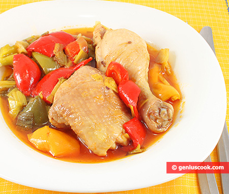 Chicken Legs Stewed with Olives and Pepper