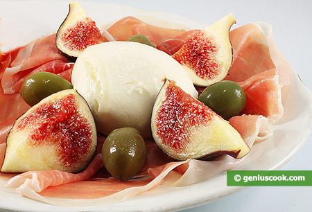 Appetizer - Ham, fig and mozzarella