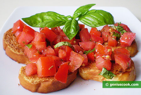 Bruschetta with tomatoes, most healthy sandwich