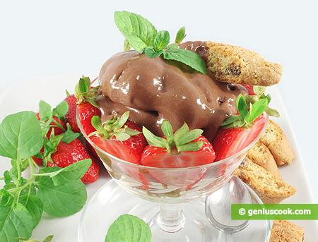 Chocolate Cream Dessert with Strawberry