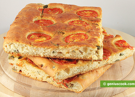 Focaccia with Cheese, Olives, Rosemary and Tomatoes