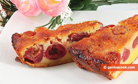 Clafoutis with cherries in a cut