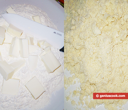 Flour with butter and crumbs