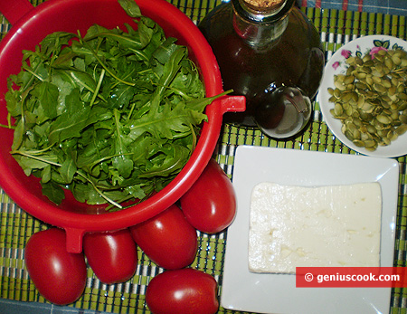Ingredients for Ruccola Salad with Goat Cheese