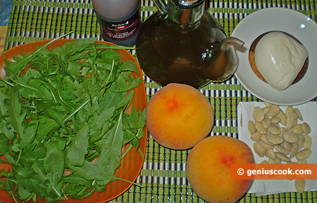 Ingredients for Peach Salad with Mozzarella and Arugula