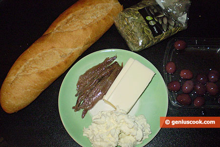 Ingredients for Canapes with Ricotta