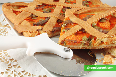 Crostata or Tart with Pumpkin and Anchovy