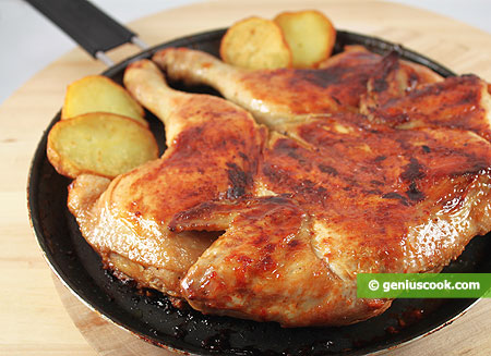 Chicken ready on a frying pan