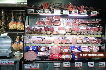 Different kinds of prosciutto ham and sausages
