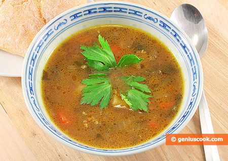 Mushroom Soup with Millet and Celery