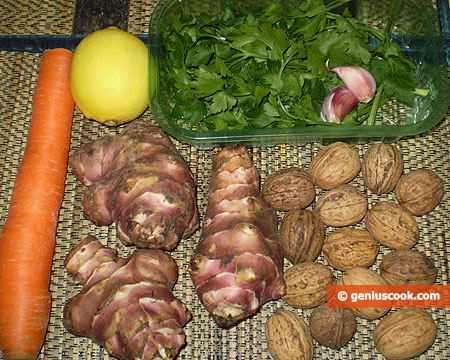 Ingredients for Jerusalem Artichoke Salad
