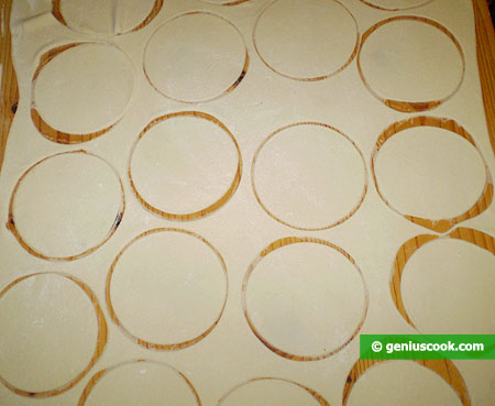 cut out circles using a large cup