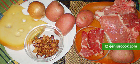 Ingredients for Pork with Chanterelles