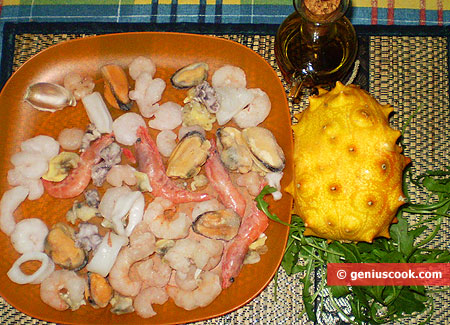 Ingredients for Seafood Cocktail Salad